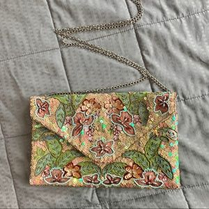 Clements Ribeiro Pastel Satin Beaded Clutch Purse